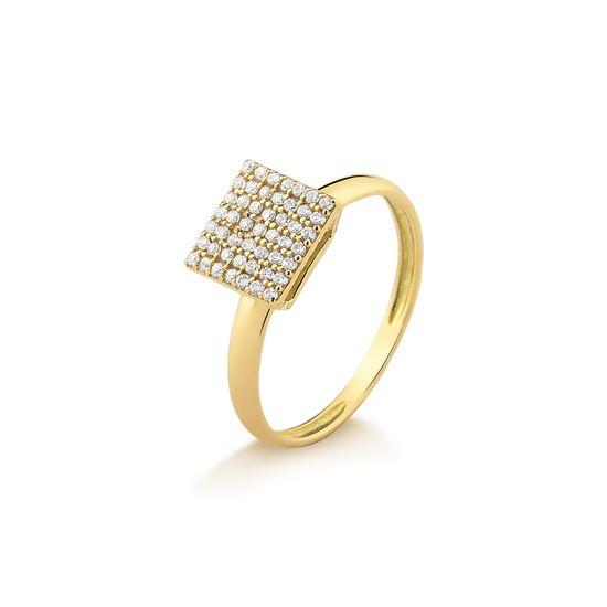 A26875M fluiarte joias Anel Pavê Quadrado em Ouro Amarelo com Zircônias  A26875Z ... ee2dd3ad61