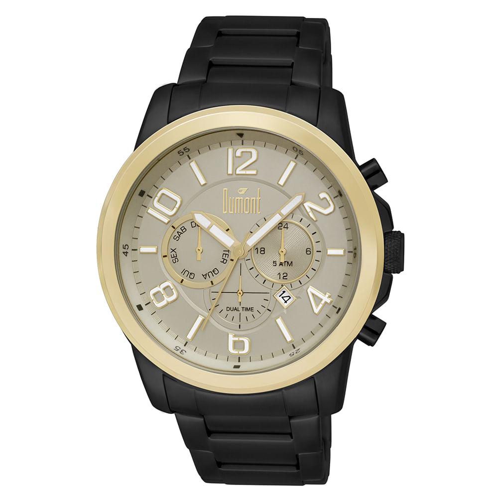Relógio Dumont Masculino Traveller Preto DUJP25AB 3D - fluiartejoias 5d9a3b568b