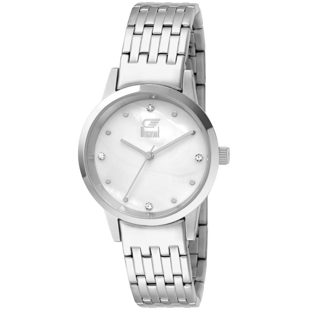 1c75a4bfbb1b3 Relógio Dumont Feminino Slim Prata DU2036LTW 3K
