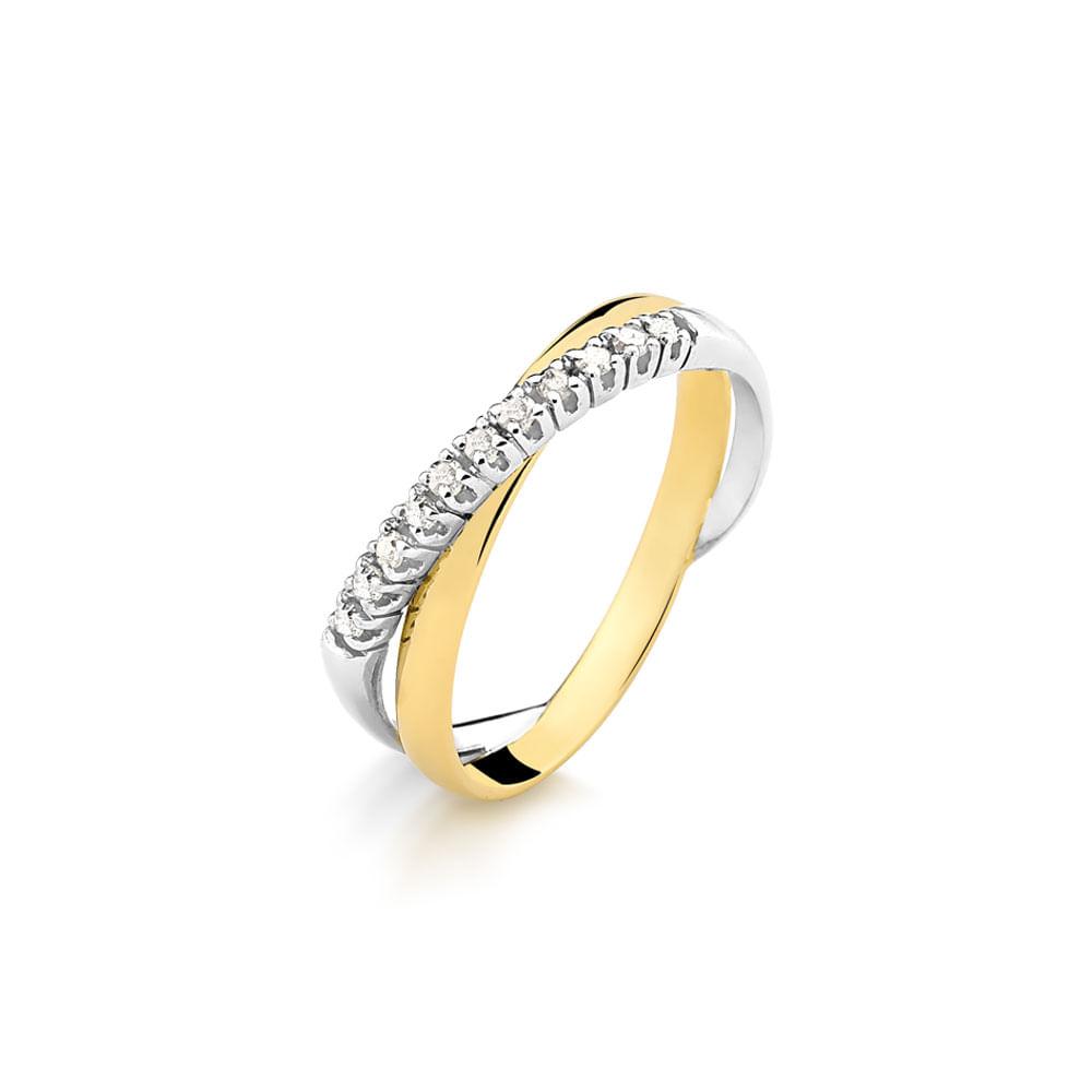 875037aaee8 Anel em Ouro Amarelo e Branco Entrelaçado com 11 Pontos de Diamantes ...