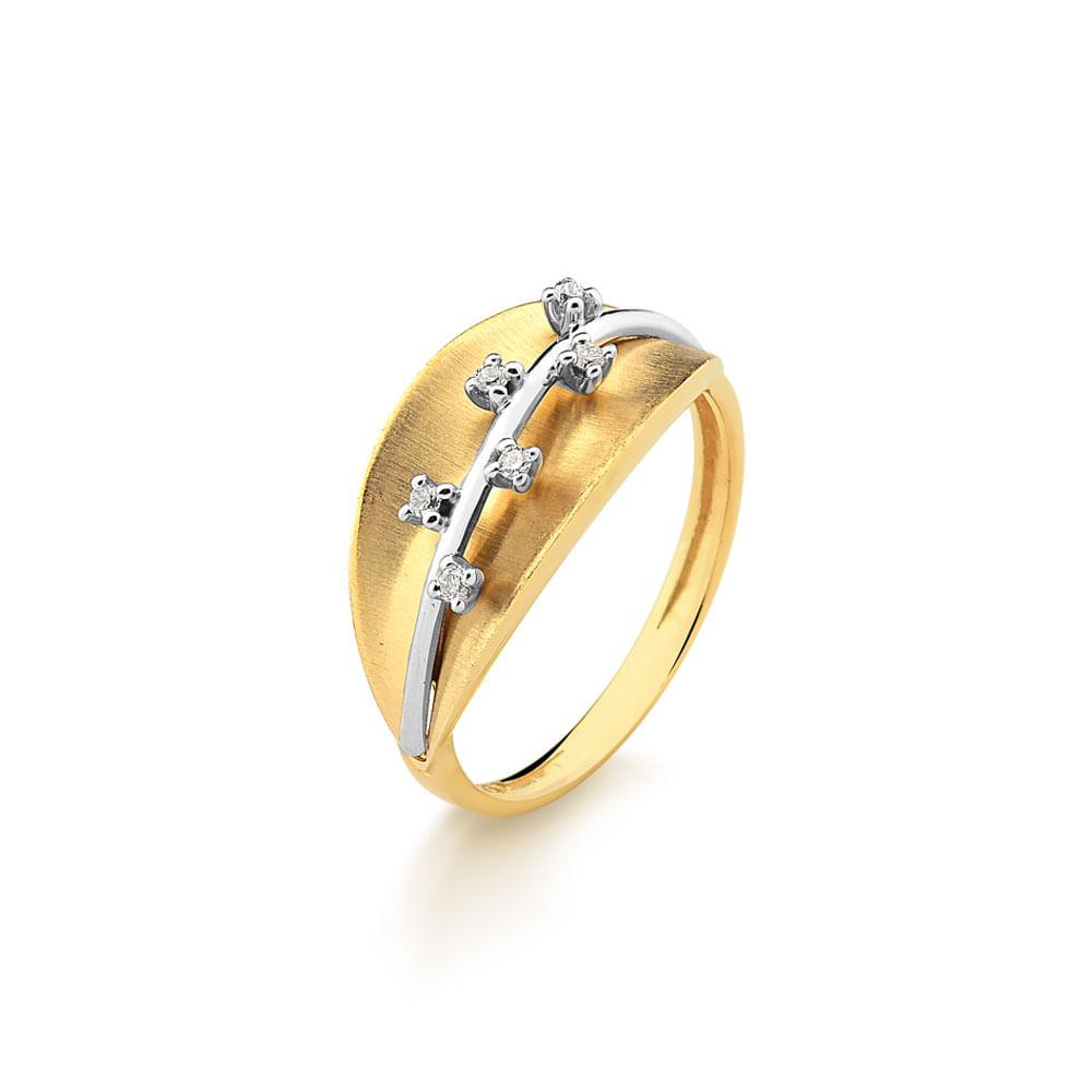 1e2df39a531 Anel em Ouro Amarelo com 6 Pontos de Diamantes - fluiartejoias