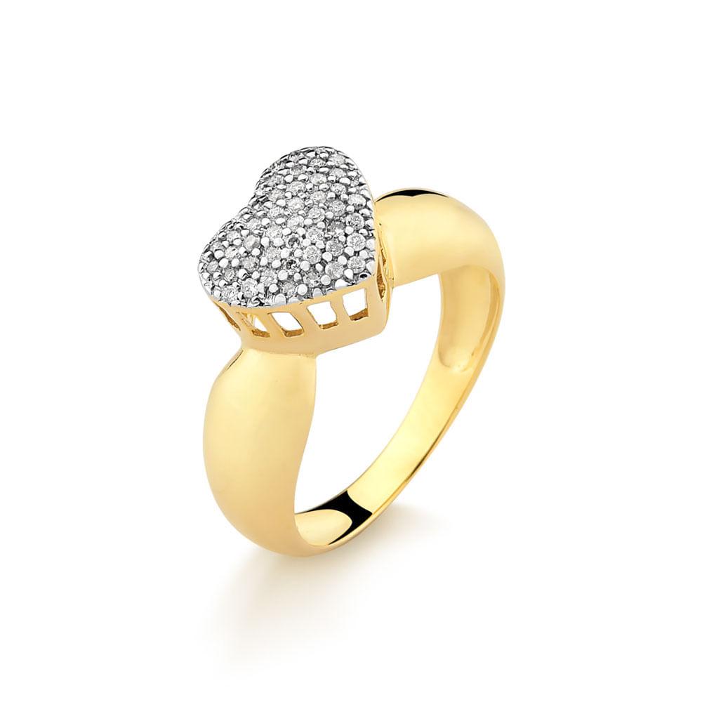 596675634cb2b Anel em Ouro Amarelo no Formato Chuveiro Coração com 30 Pontos de ...