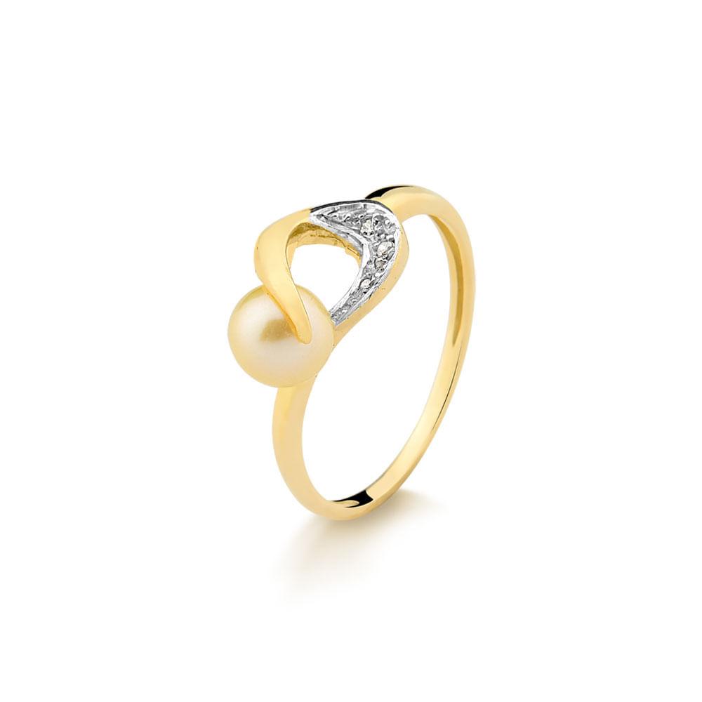 Anel em Ouro Amarelo com Perola e 2 Pontos de Diamantes - fluiartejoias b193200e72
