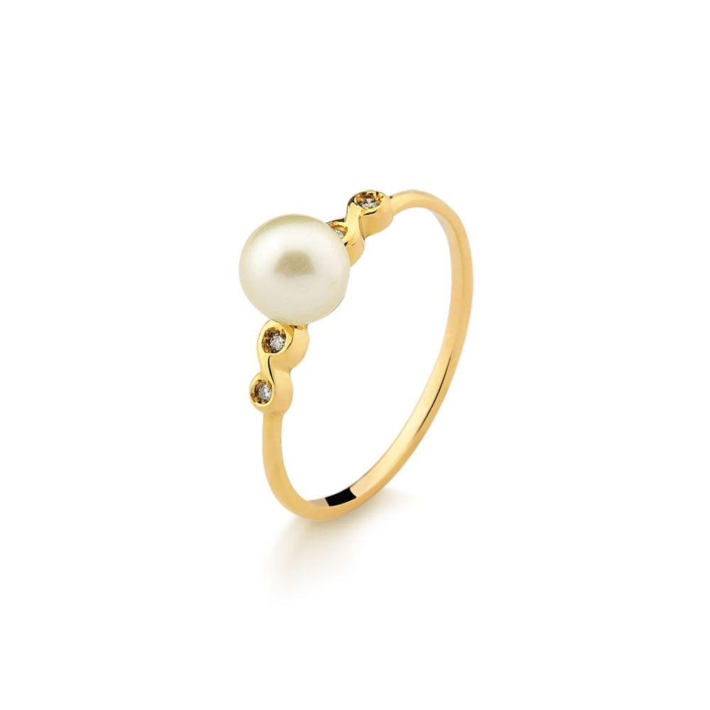 8917375d8ef Anel em Ouro Amarelo com Perola Cultivada e 2 Pontos de Diamantes ...