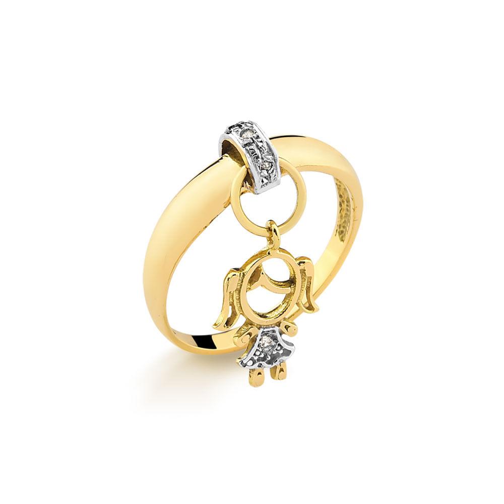 Anel em Ouro Amarelo com Pingente de Menina e 2 Pontos de Diamantes ... 605cbaea4c