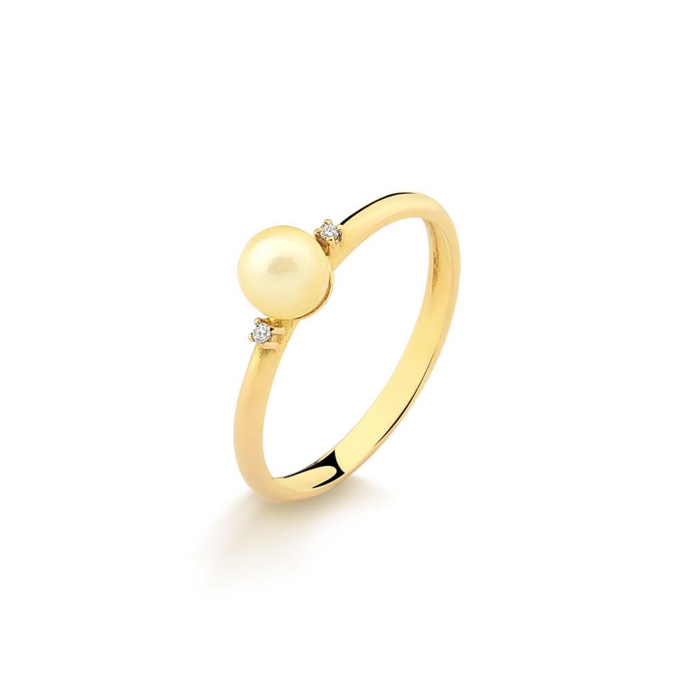 Anel em Ouro Amarelo com Perola e 2 Pontos de Diamantes A771 ... 1a7c2c8e36