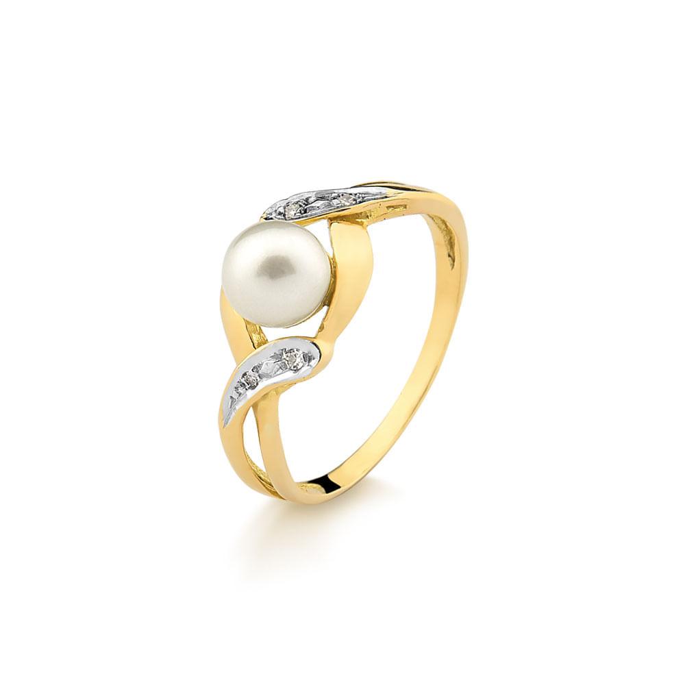 716ef7d5fed Anel em Ouro Amarelo Trabalhado com Perola e 2 Pontos de Diamantes ...