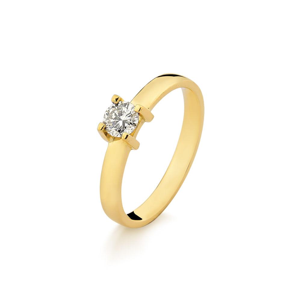Anel Solitário em Ouro Amarelo Aro Confort com Diamantes - fluiartejoias 045b4266a7
