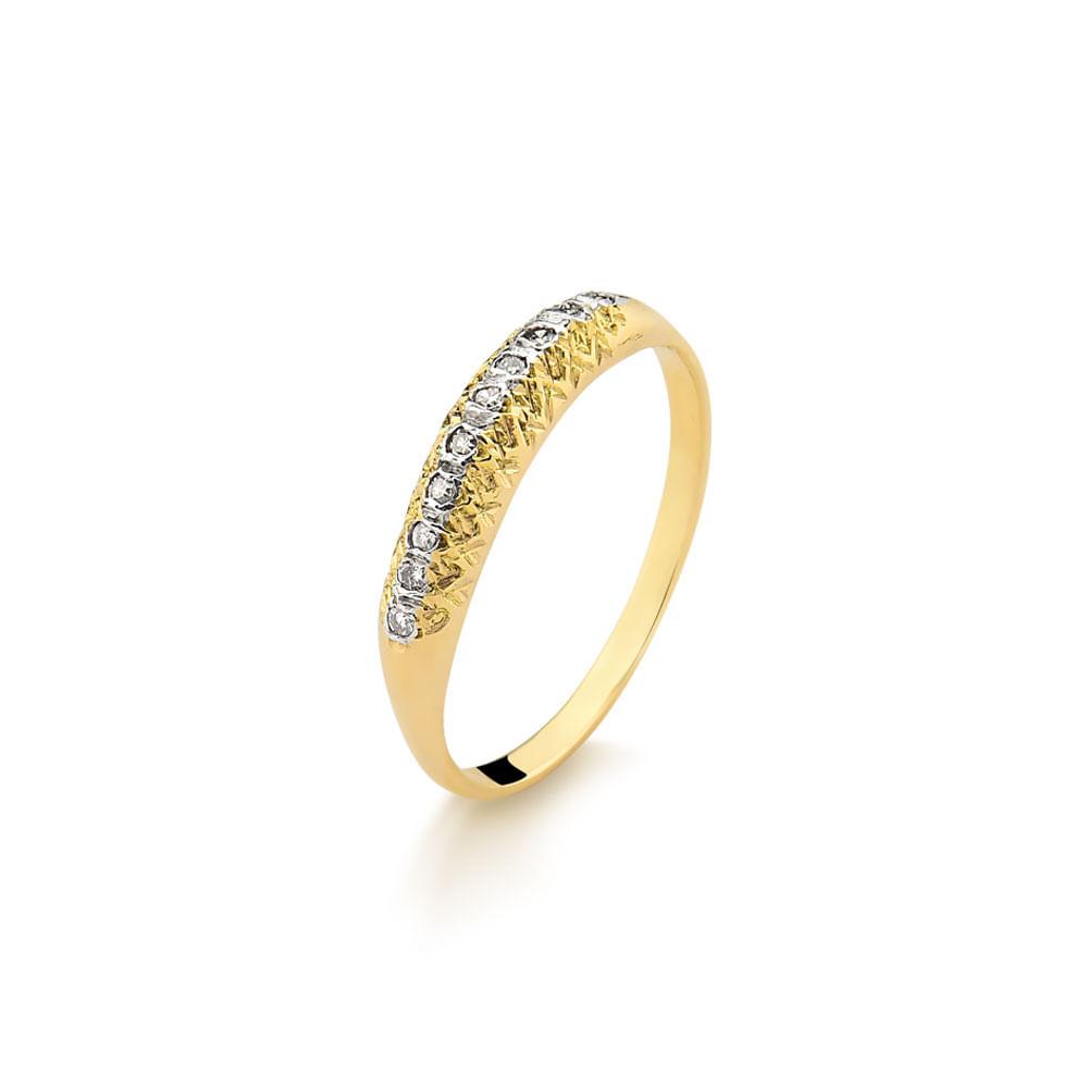0921f6f6c08c7 Anel Aparador de Aliança em Ouro Amarelo com 10 Pedras de Diamantes ...
