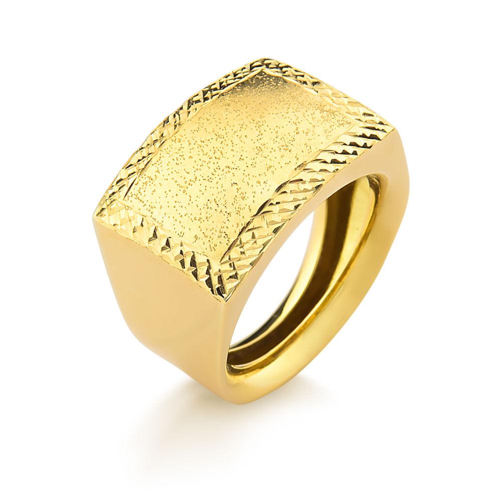 Anel em Ouro Amarelo Aro Confort Trabalhado A1103T - fluiartejoias 4550c4f943