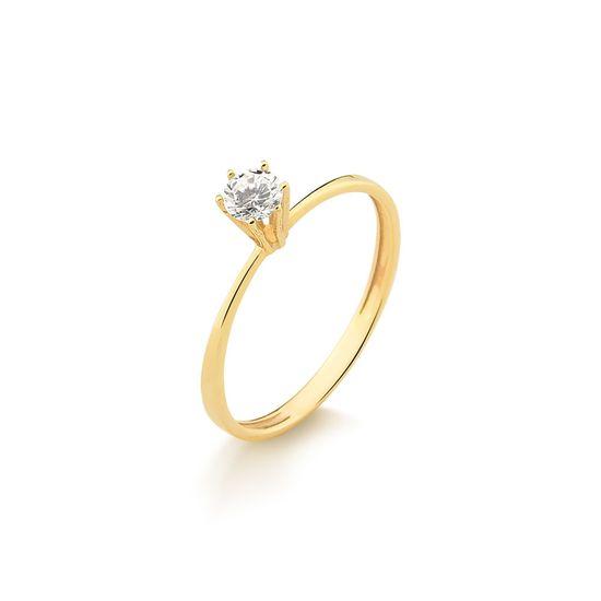 Anel Solitário em Ouro Amarelo Com 30 Pontos de Diamante Produto Esgotado   A26782 Fluiarte-Joias f86bd9243f
