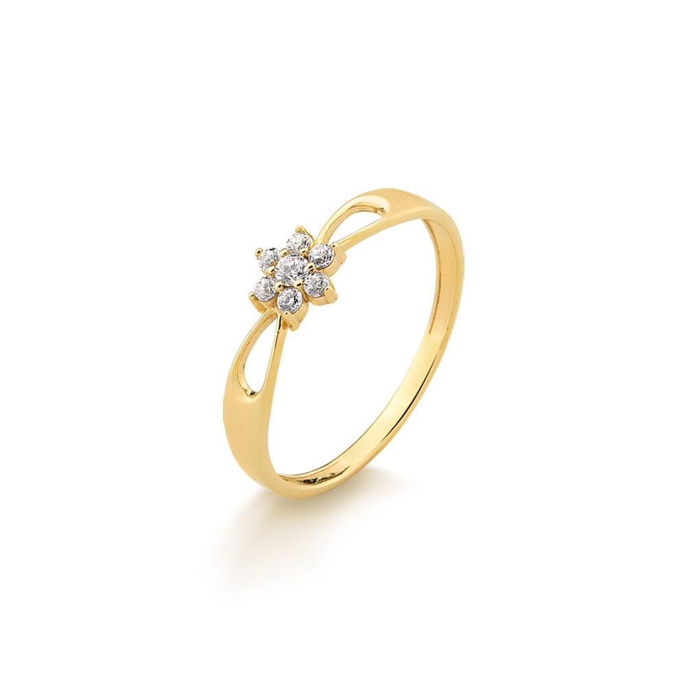 20a856654e1 Anel Flor em Ouro Amarelo com 12 Pontos de Diamante A26783B - fluiartejoias