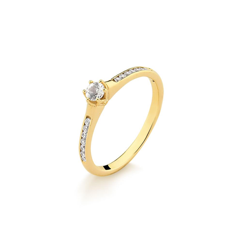 Anel Solitário em Ouro Amarelo Com 30 Pontos de Diamante A26791 -  fluiartejoias 6f2f39a7da