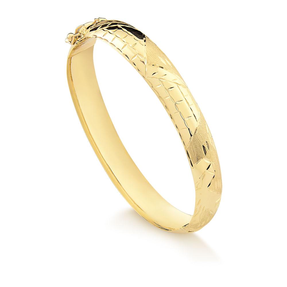 Pulseira Bracelete com Dobradiça em Ouro Amarelo B42 - fluiartejoias 9d056f2107