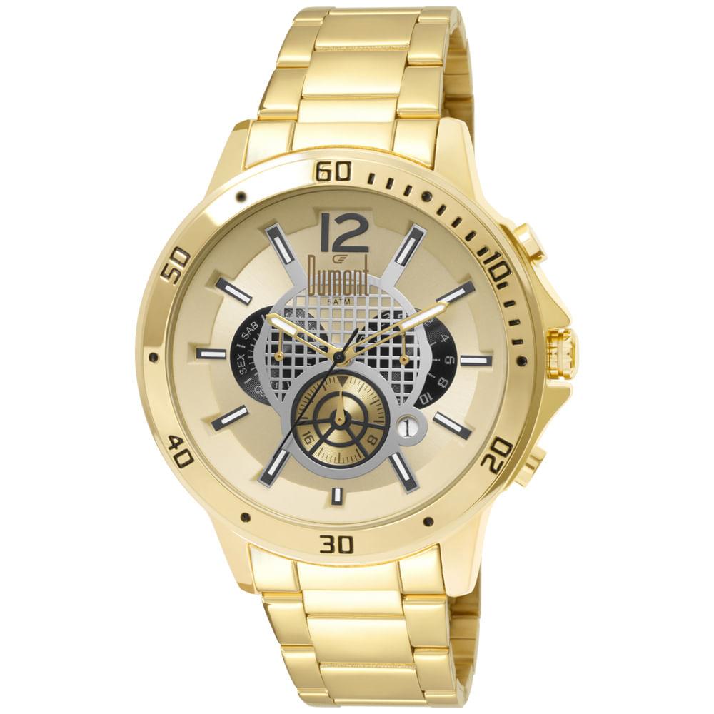 Relógio Dumont Masculino Dourado Garbo DUJP25CAJ 4D - fluiartejoias f08e02b4cf