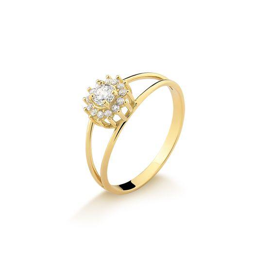 A26843 fluiarte joias Anel de Grau em Ouro Amarelo com Zircônias A26843Z ... 5601445cfd