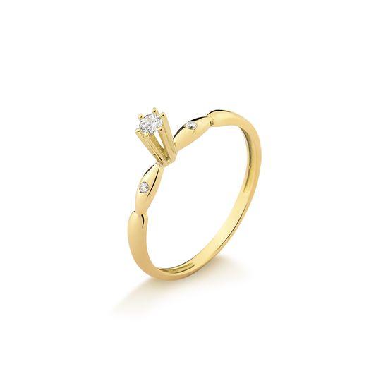 A26781 fluiarte joias Anel Solitário em Ouro Amarelo com Zircônias ... 8a000f6b97