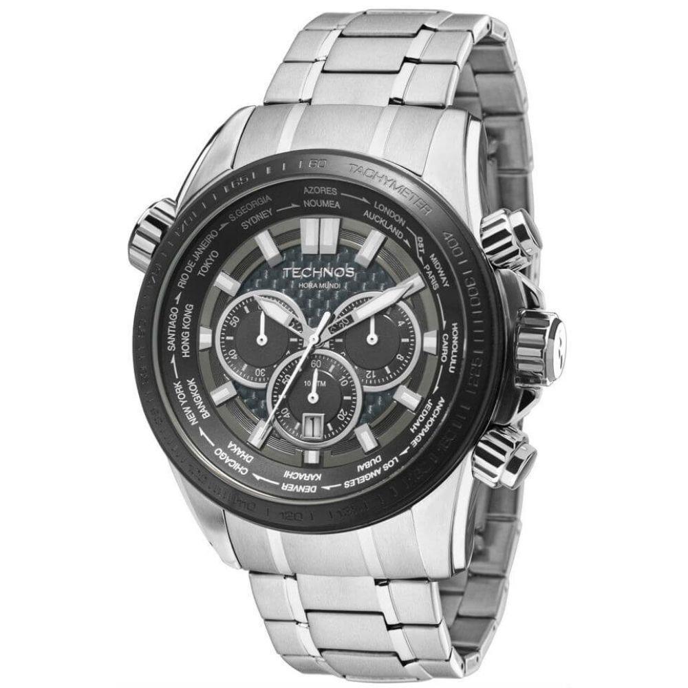 Relógio Technos Carbon Masculino Cronógrafo OS2AAK 1K. Cód  OS2AAK 1K.  Os2Aak-1K-fluiarte-joias 468217f8ea