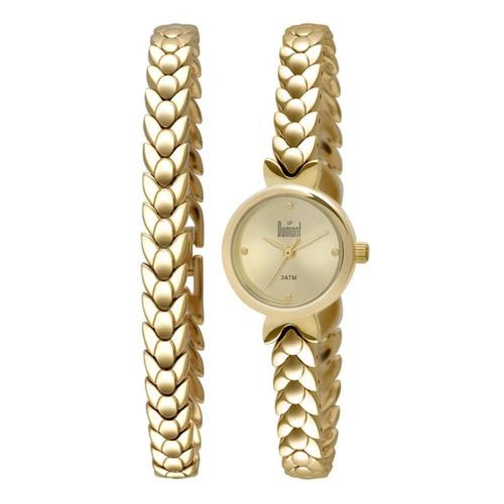 11ab513058260 Relógio Dumont Feminino Troca Pulseiras DU2035LOD 4D - fluiartejoias