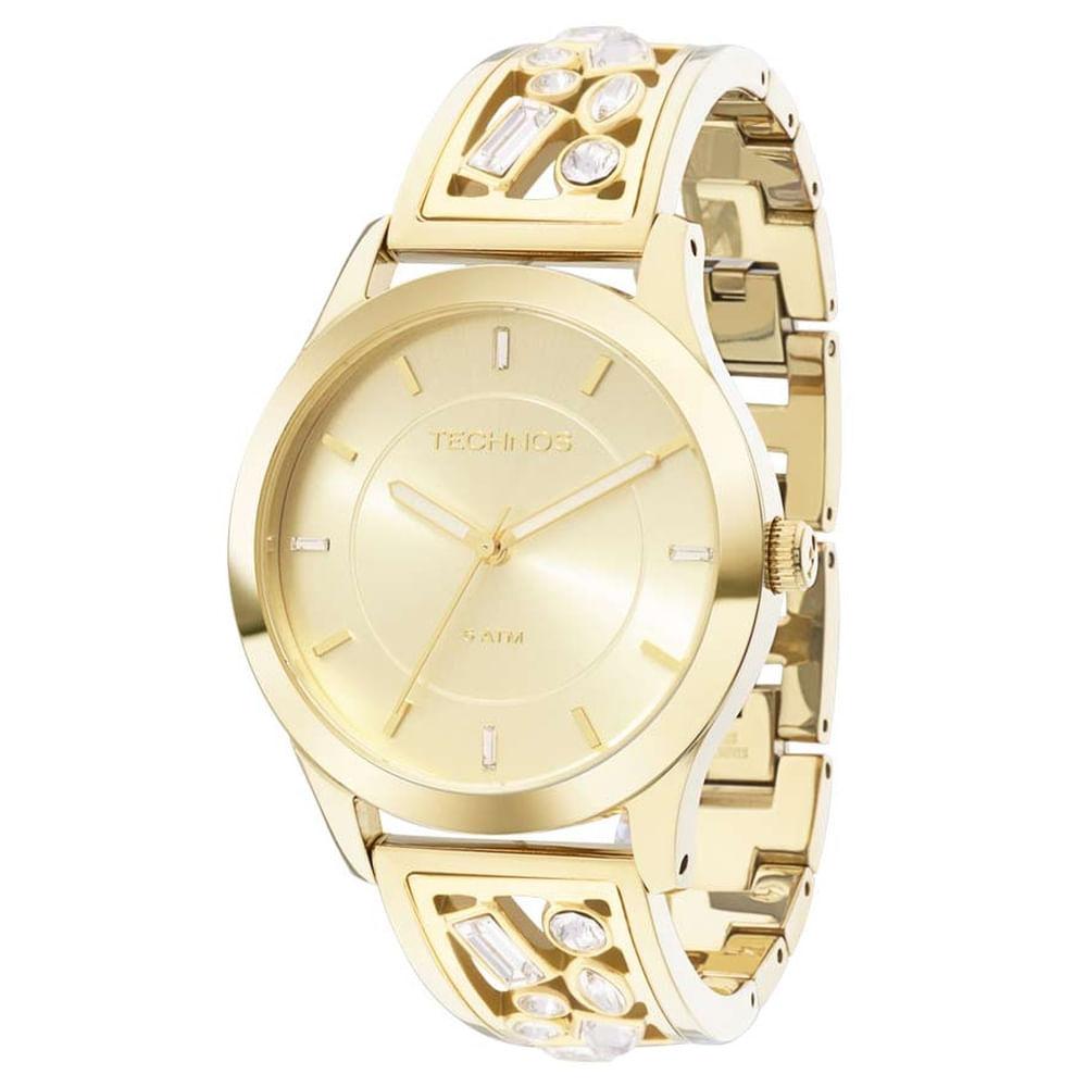 436f5b4dd6cba Relógio Technos Feminino Dourado Swarovski 2035LZB 4X - fluiartejoias