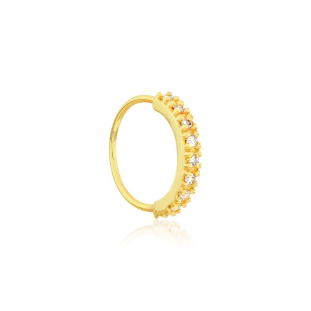 Piercing Argola em Ouro Amarelo com Zircônias P8280 - fluiartejoias 0b19894235