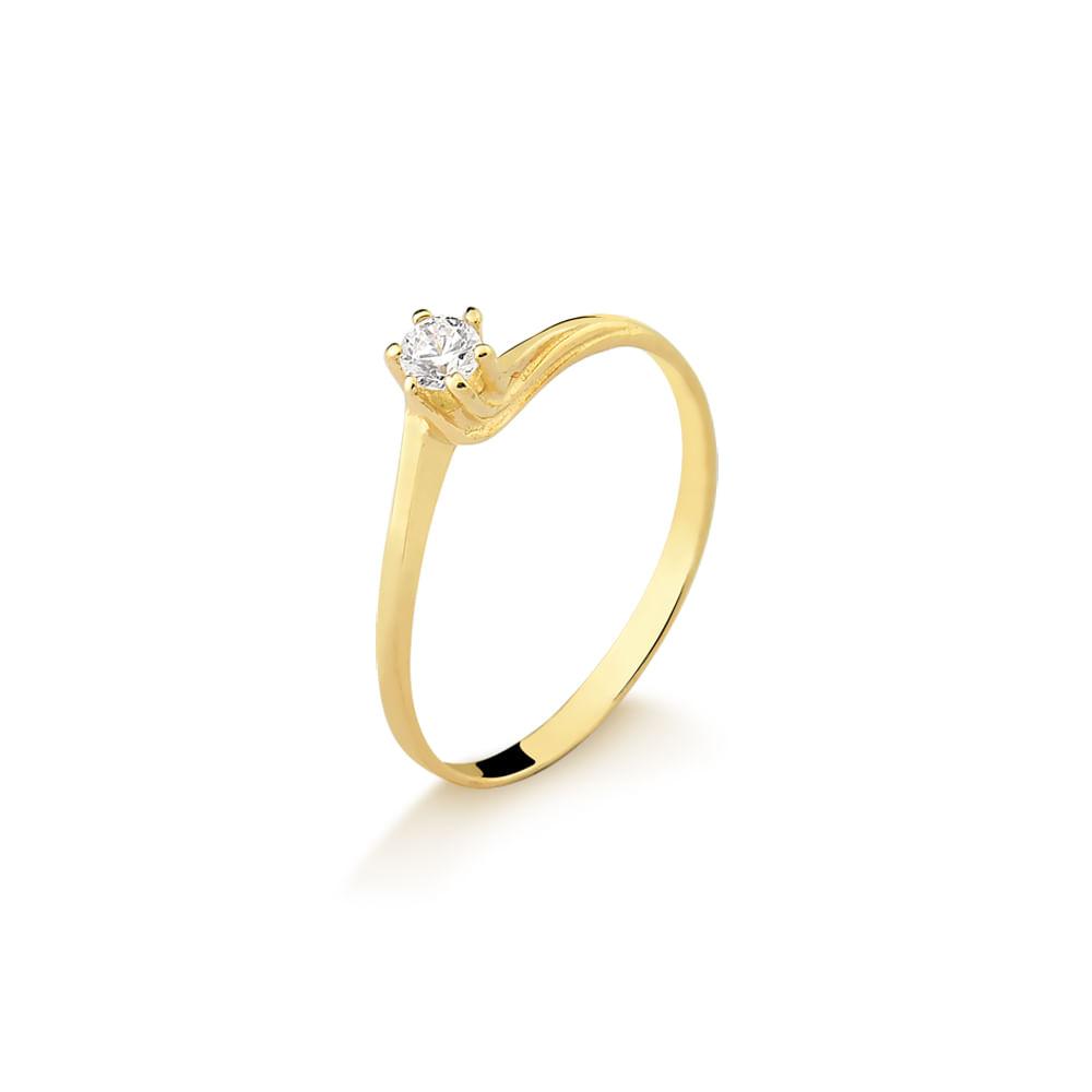 67ff0cfdfb3 Anel Solitário em Ouro Amarelo com Brilhante A714 - fluiartejoias