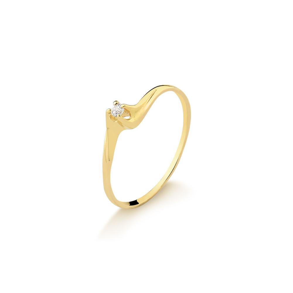 Anel Solitário em Ouro Amarelo com Brilhante A218B - fluiartejoias 0e86238eea