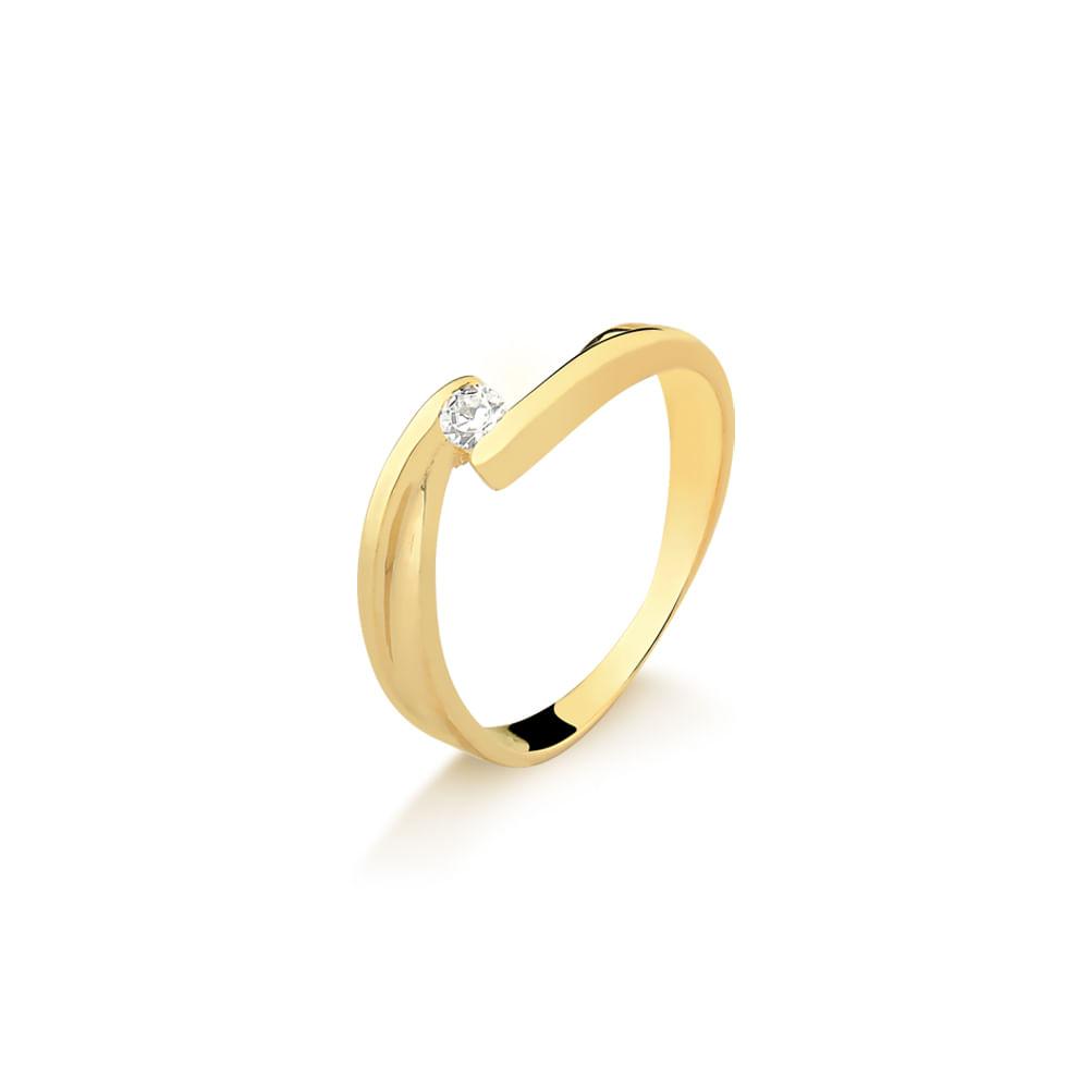 Anel Solitário em Ouro Amarelo com Brilhante A665B - fluiartejoias 113799dc2d
